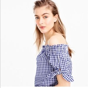 J. Crew Blue Gingham Off the Shoulder Top